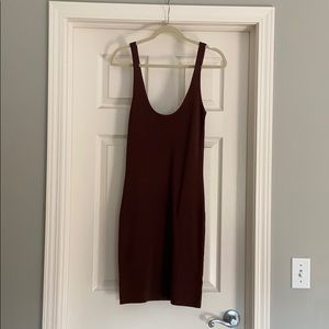 Leith Brown Ribbed Dress